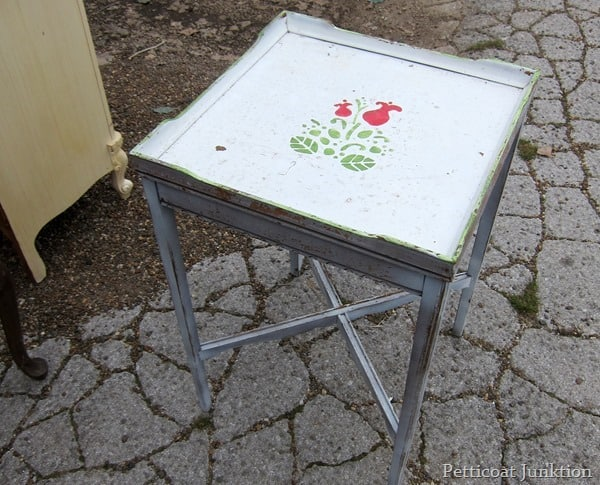 shabby white stenciled table junk find petticoat junktion
