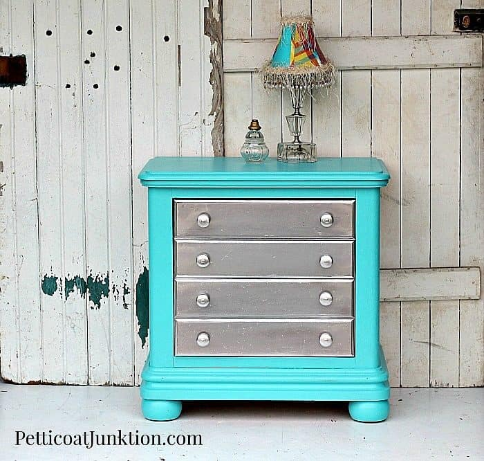 Spray Paint Furniture Metallic Silver And Add Turquoise To The Mix