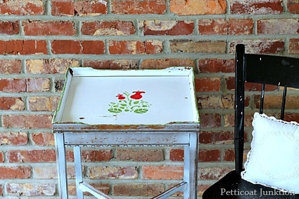 stenciled table and black painted chair junk treasures petticoat junkion