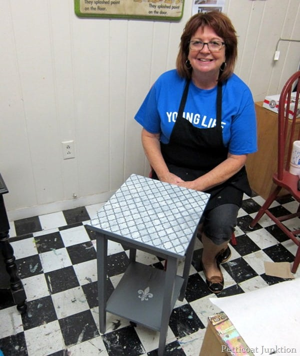 stenciled table project petticoat junktion paint workshop