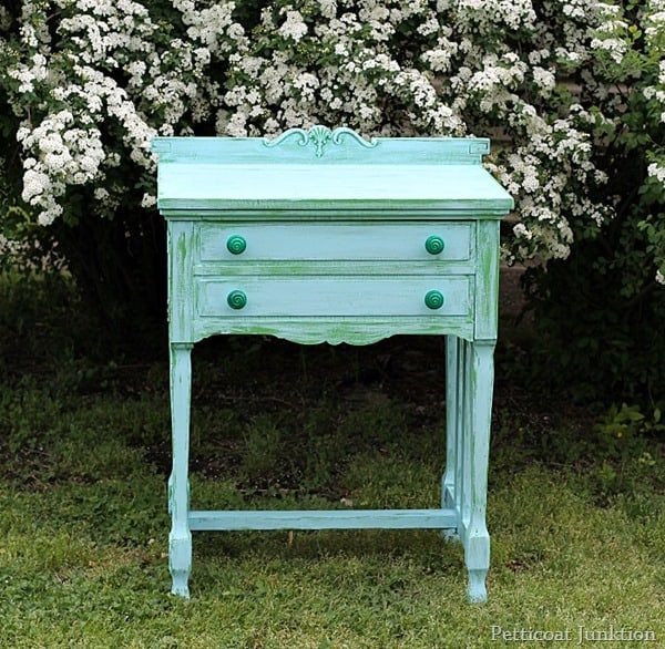 turquoise and green two layer painted furniture project petticoat junktion