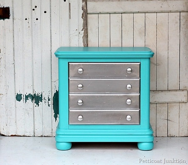 turquoise nightstand with metallic silver accents petticoat junktion