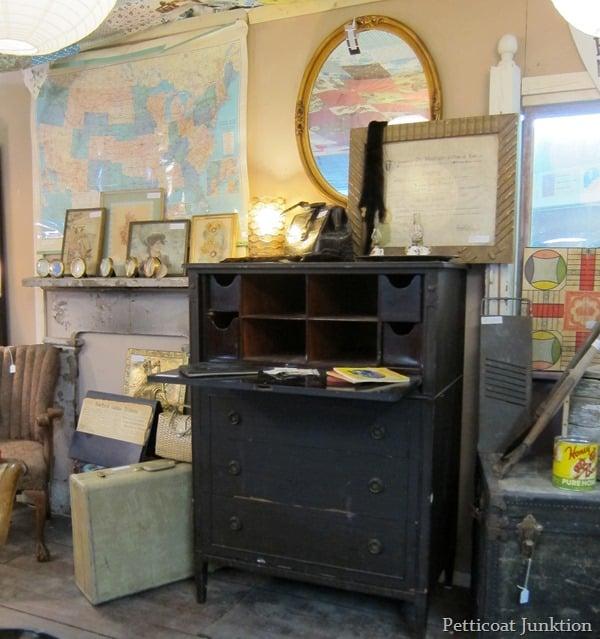 vintage wood secretary desk