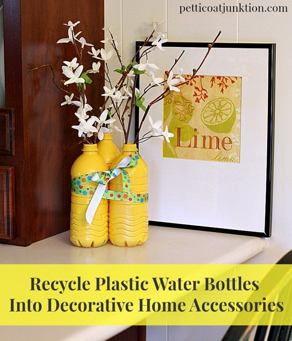 Recycled Plastic Water Bottle Vases Spray Painted Yellow