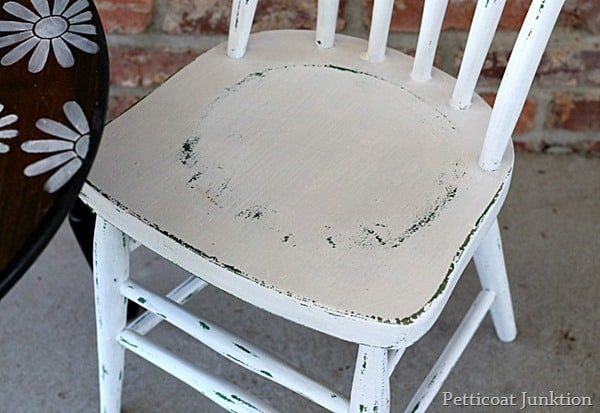 childs chair painted white and distressed Petticoat Junktion