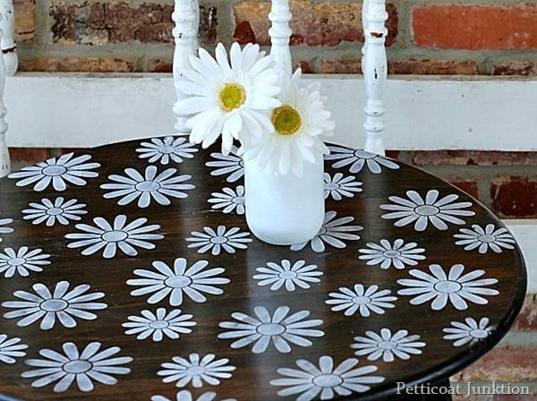 childs table stenciled with daisies Petticoat Junktion
