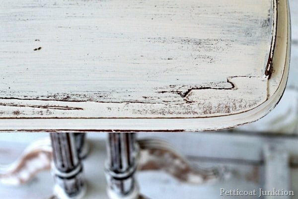 distressed shabby chic white table Petticoat Junktion