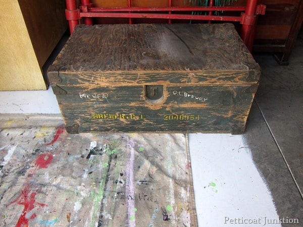 personalized wood trunk junk shopping trip Petticoat Junktion