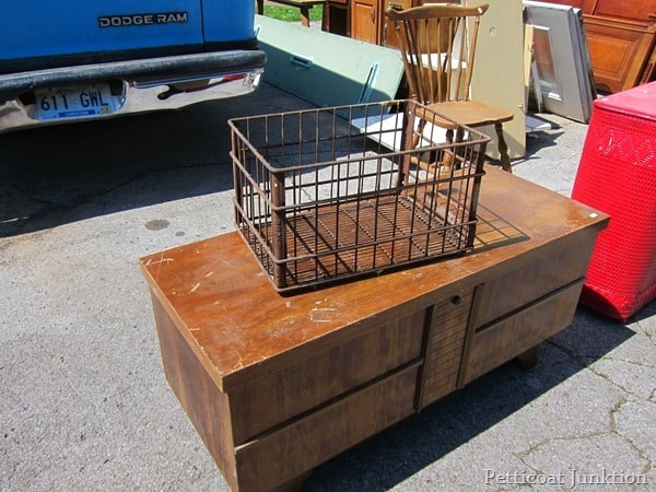 rusty iron crate junk shopping with petticoat junktion