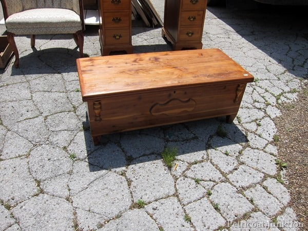 small wood trunk junk shopping trip Petticoat Junktion