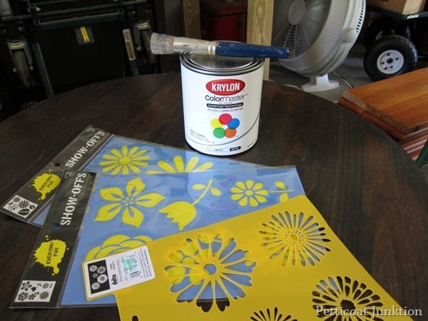 stencils and paint for project Petticoat Junktion