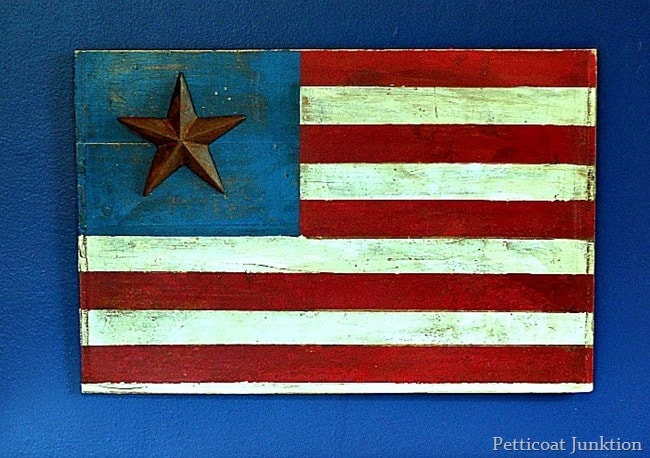 how to make a rustic American flag sign easy diy Petticoat Junktion
