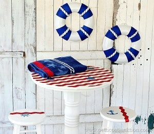 How to use Chevron Tape and Stencils-Nautical Theme Furniture