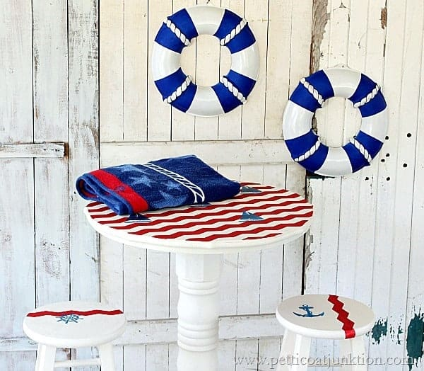 Sailboat Inspired Nautical Themed Pub Table Tutorial