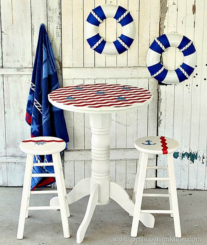 nautical furniture makeover sailboat inspired Petticoat Junktion pub table project