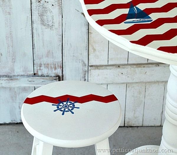 nautical themed pub table sailboat inspired Petticoat Juntkion