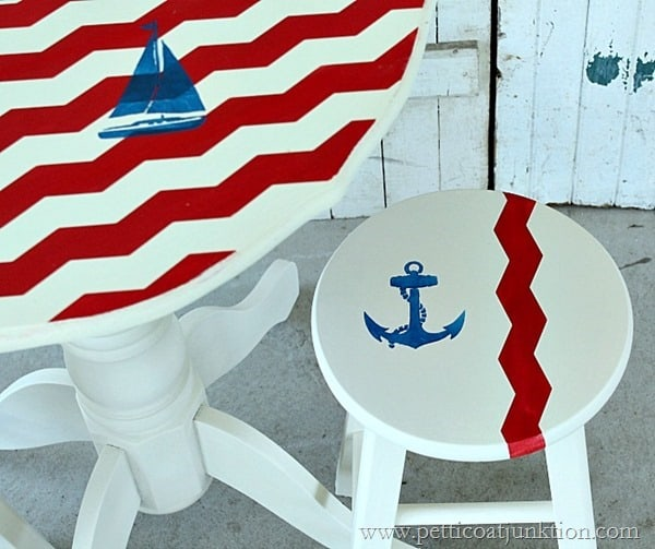 red white and blue nautical themed furniture Petticoat Junktion