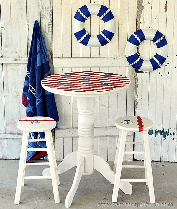 saiboat inspired nautical pub table Petticoat Junktion