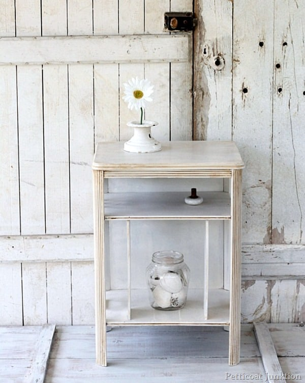 white table with antiqued finish Petticoat Junktion