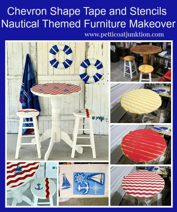 Nautical Style Furniture With Chevron Painted Stripes