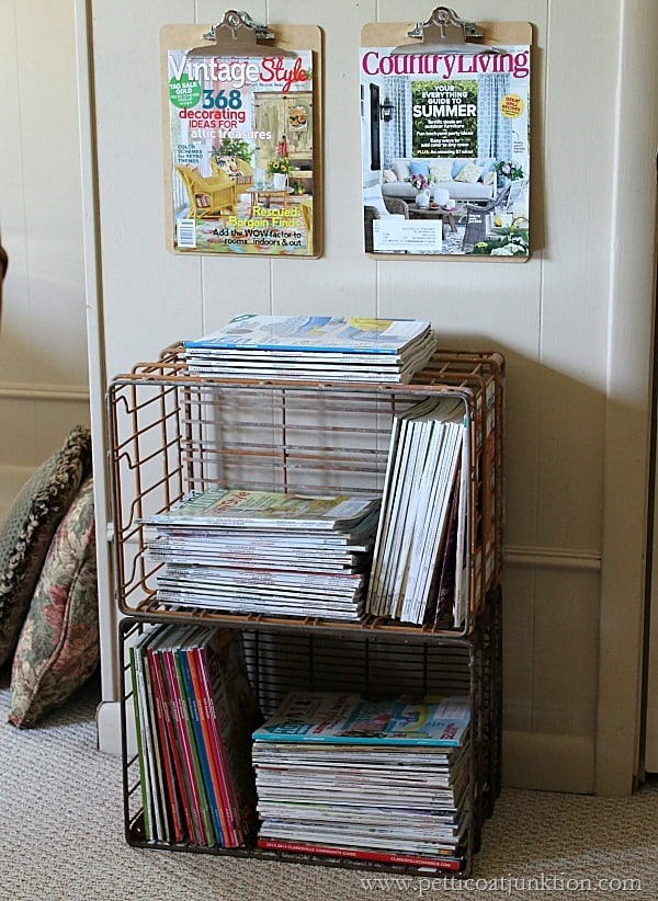 clipboards and wire crates Magazine display Petticoat Junktion