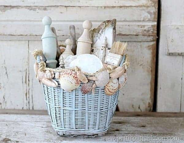 Seashell home decor sisal seashell decorated basket - Diy projects with seashells personalize your home ...