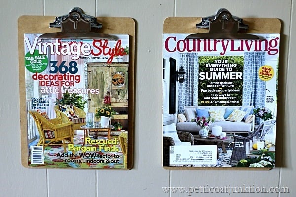 easy clipboard wall display for magazines Petticoat Junktion