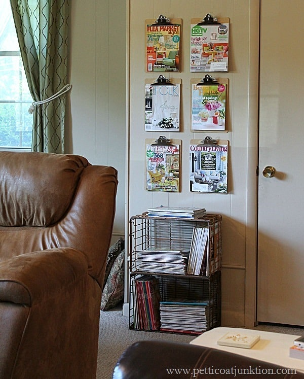 easy diy magazine wall display Petticoat Junktion