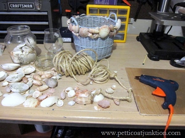 how to decorate a basket with seashells Petticoat Junktion
