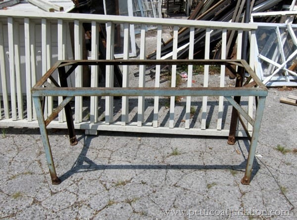 rusty iron table base junk find Petticoat Junktion