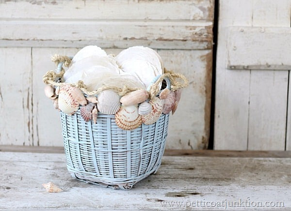 seashell basket decor from Petticoat Junktion
