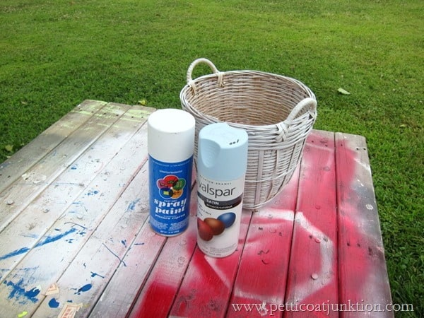 spray painting a basket Petticoat Junktion