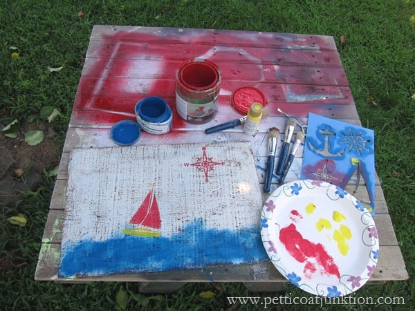 stenciling a nautical sign Petticoat Junktion