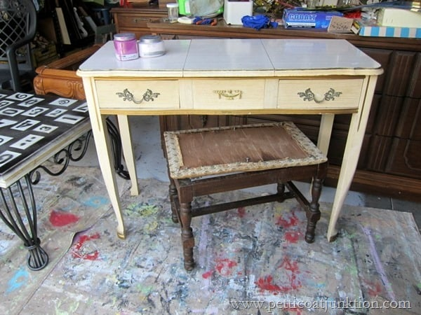 vanity with bench painted furniture project Petticoat Junktion