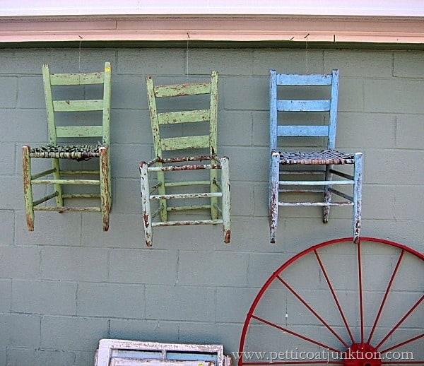 Don't Leave Me Hanging  Chippy Vintage Chairs Petticoat Junktion Junking Trip Nashville Flea Market