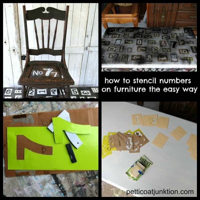 How to stencil numbers on furniture the easy way 650   Petticoat Junktion