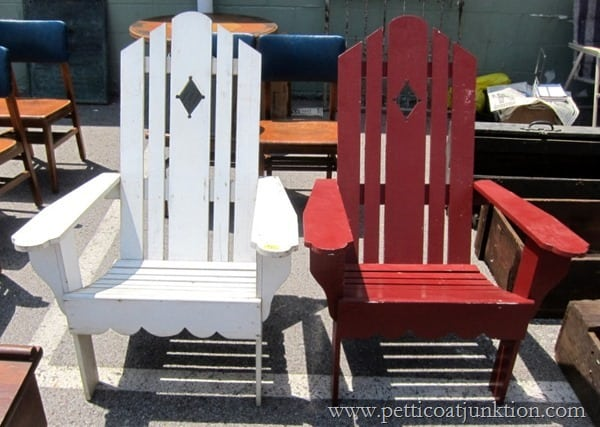Red and White Adirondack Chairs Petticoat Junktion Junking Trip Nashville Flea Market (3)