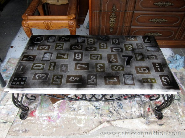 RustOleum Spray Painted Stenciled Numbers Table Petticoat Junktion
