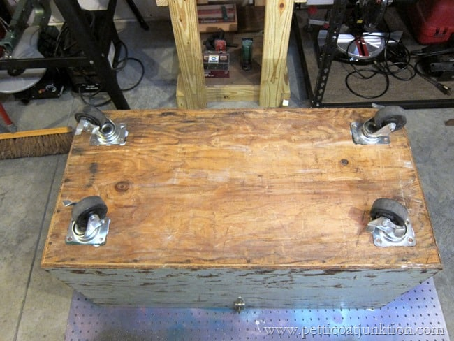 adding casters to the bottom of a trunk Petticoat Junktion