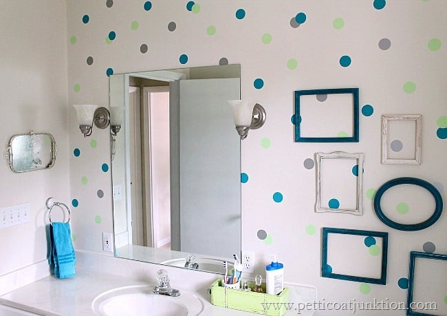 how to apply color to a wall using Wallternatives Dots Petticoat Junktion project