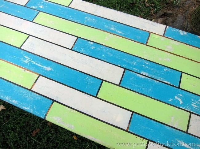 how to fake a painted plank table top