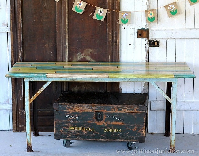 how to fake an antique painted plank tabletop Petticoat Junktion