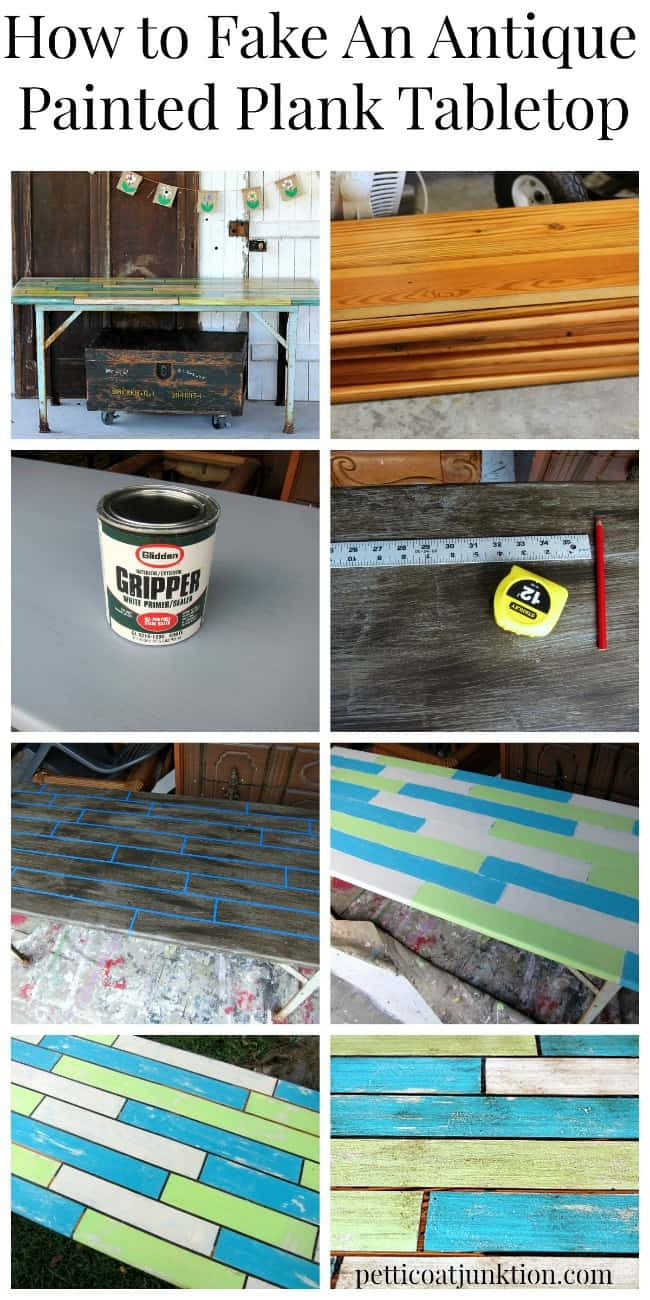how to fake an antique painted plank tabletop tutorial by Petticoat Junktion