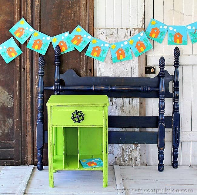 navy blue bed green nightstand painted furniture Petticoat Junktion