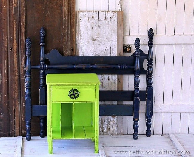 painted furniture_green nightstand navy bed loud and proud Petticoat Junktion