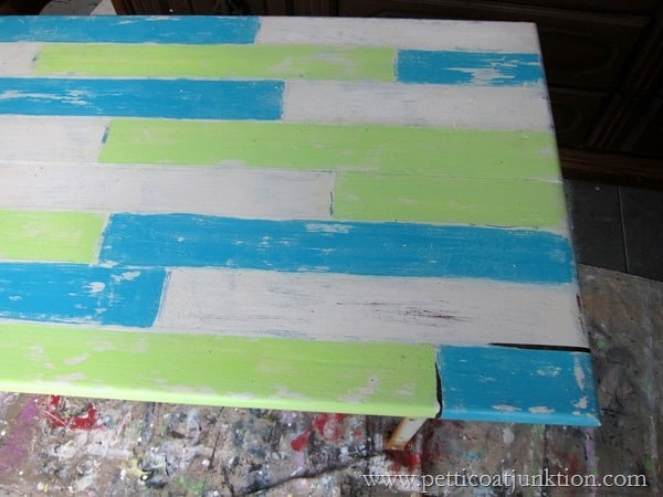Fake An Antique Table Top With Painted Wood Planks