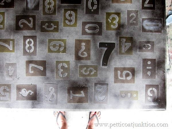 spray paint numbers project RustOleum Spray Paint by Petticoat Junktion