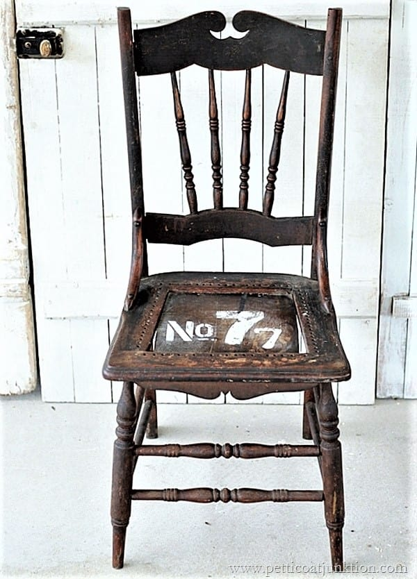 how to stencil numbers on a chair