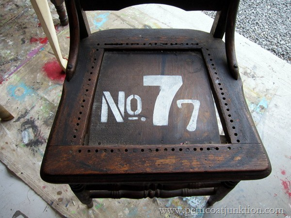 stenciled numbers chair Petticoat Junktion