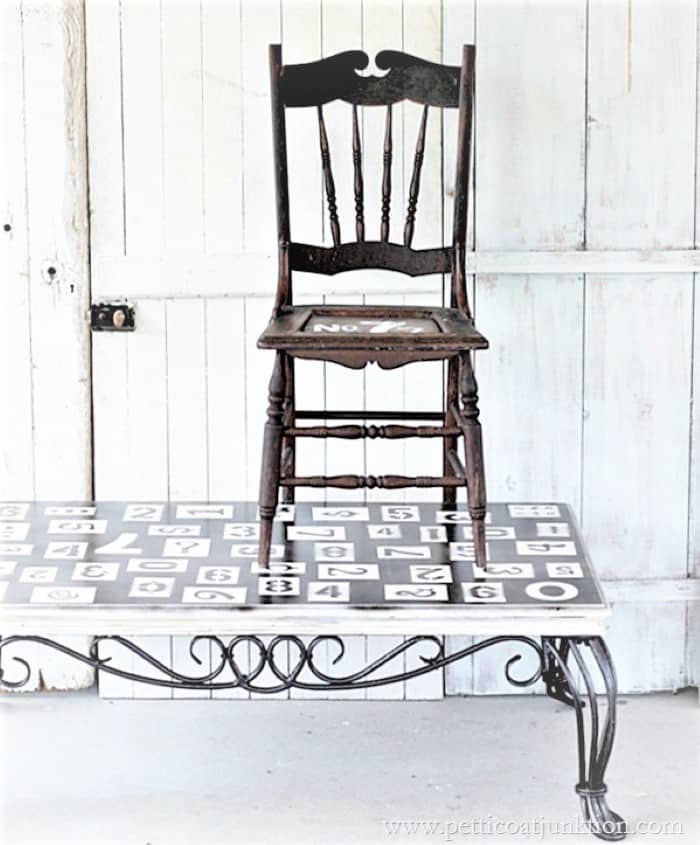 stenciled table and chair (3)